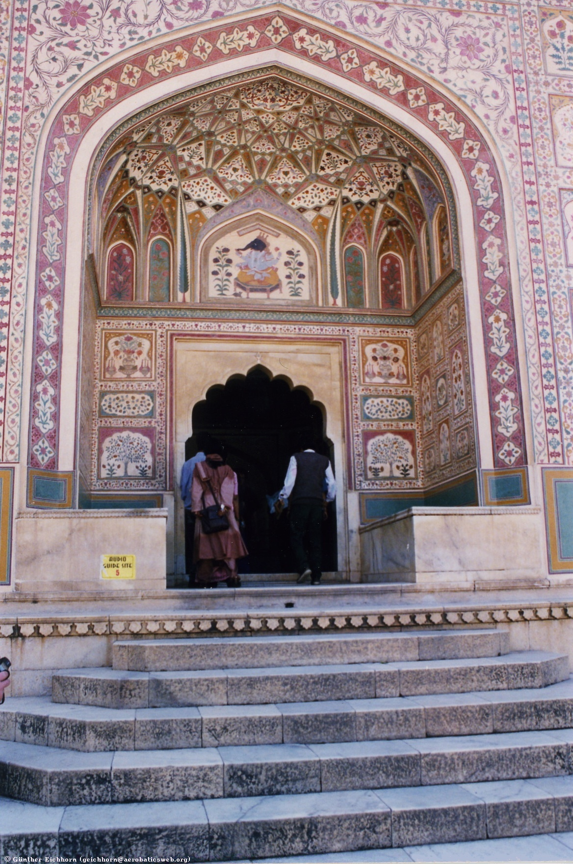 Entrance to the Amber Palace in Jaipur. Image of the Hindu God Ganesh above the door.