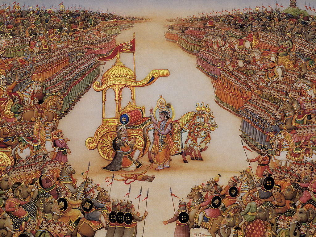 Popular Geeta Updesh Mahabharat Krishna Arjuna Pictures for free download