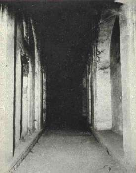 The corridor below the marble platform with Hindu design